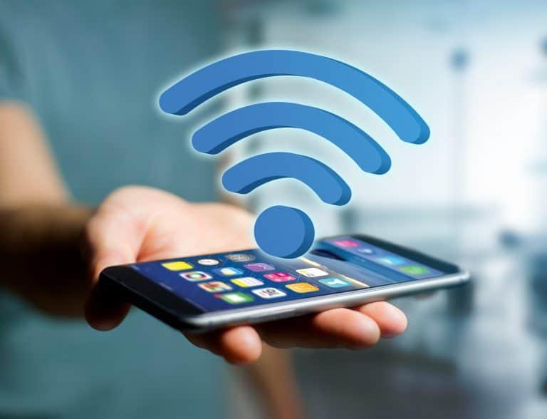 Un teléfono y el símbolo wifi