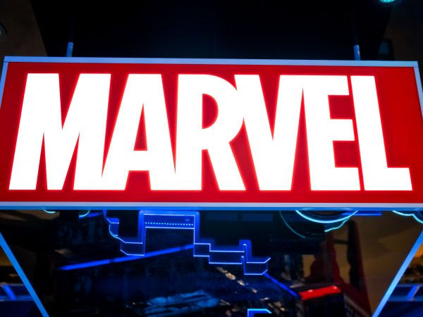 Moscow, Russia – March, 2018: Marvel logo in Hamleys store. Marvel Comics Group is a publisher of American comic books and related media