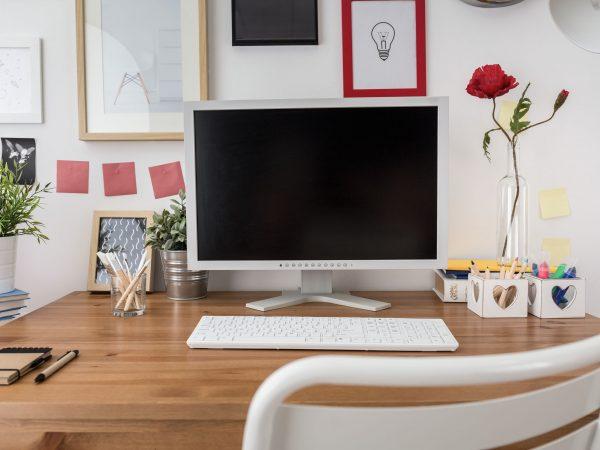 White desktop computer in new modern office