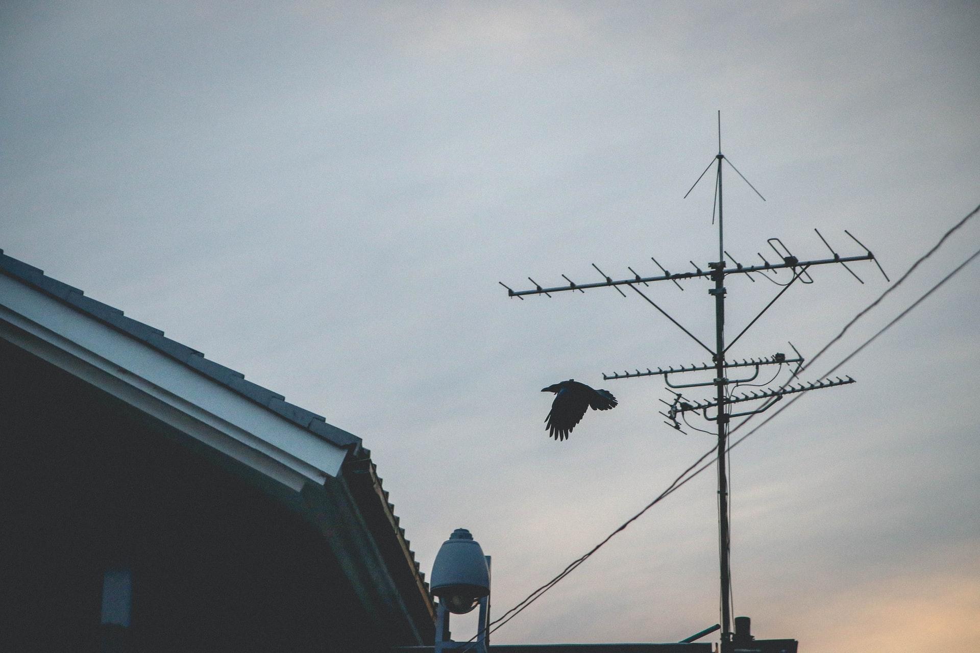 antena sobre el techo de hogar
