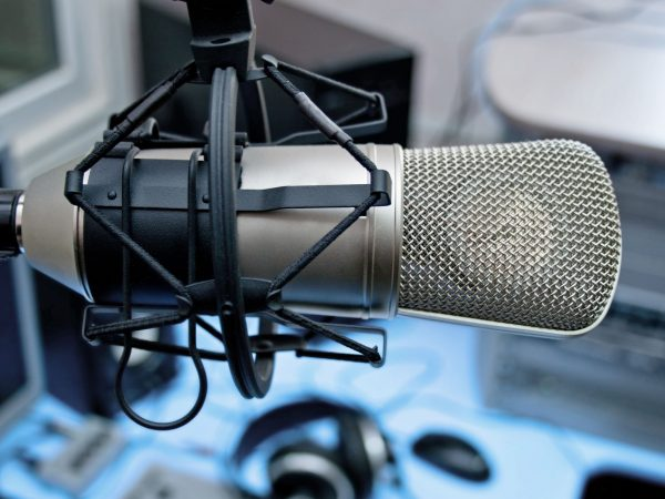 10853371 – microphone in broadcasting studio