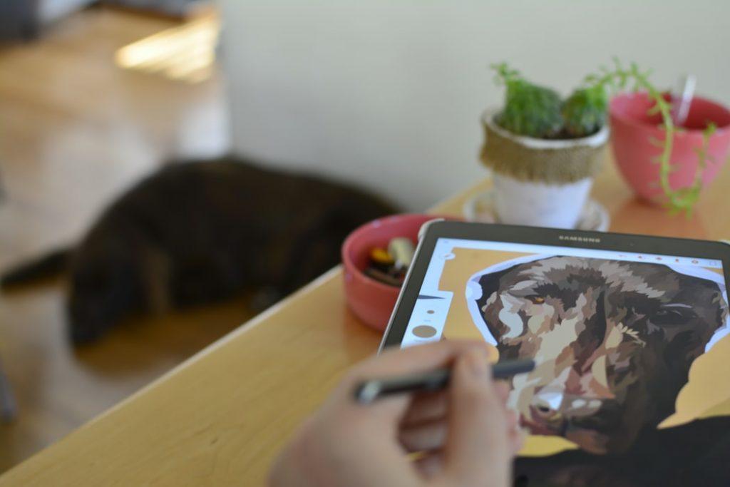 dibujando a perro en pizarra digital