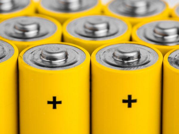 AA alkaline batteries on white background