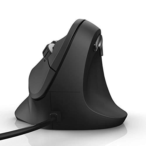 Hama Ratón ergonómico (ratón vertical para diestros, 3 niveles de velocidad hasta 1800 ppp, contra el codo de tenista, síndrome RSI del brazo del ratón, con cable) negro