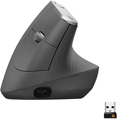 Logitech MX Vertical Ratón Inalámbrico Ergonómico, Multi-Ordenador, 2,4 GHz/Bluetooth con Receptor Unifying USB, Seguimiento Óptico 4000 DPI, 4 Botones, Carga Rápida, Portátil/PC/Mac/iPad OS - Negro