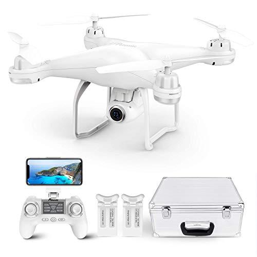 Potensic T25 Drone GPS de 9 Ejes Remoto Giroscopio Mejorado con 120 ° de Ángulo Amplio Ajustable Cámara, Drone Profesional para Adulto (Dos baterías + Maletín de Transporte)