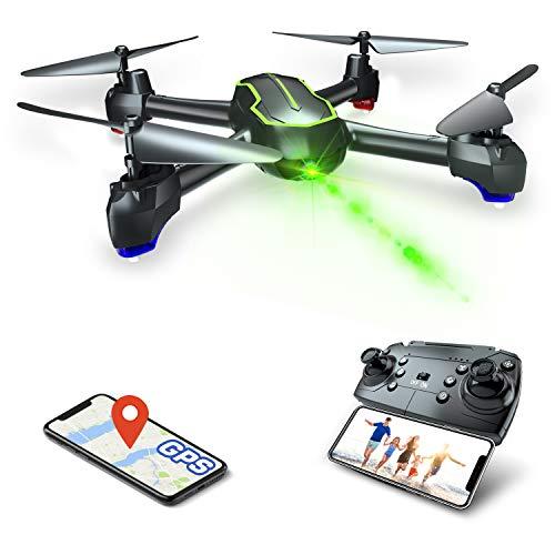 Asbww   Dron GPS con Cámara Full HD 1080p para Principiantes - Drone Cuadricóptero RC con Retorno Automático / Fotos y Vídeo HD 1080p / Transmisión en Tiempo Real FPV(Dos baterias)